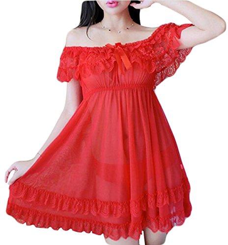Palabra De Hombro Atractivos De Las Mujeres Pijamas Red