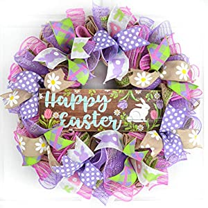Happy Easter Bunny Door Wreath | Welcome Easter Wreath | Purple Jute Burlap Pink 75