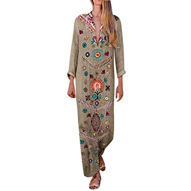 2fc20eba823a Amazon.com: 🎉Sumeimiya Women Cotton and Linen Maxi Dress, Bohemian V-Neck  Side Print Slit Dresses Daily Simple Dress: Clothing