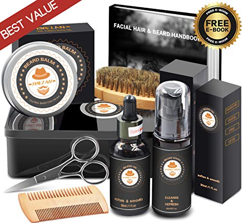 Best Value Beard Kit w/METAL BOX,Beard Shampoo/Wash,Unscented Beard Conditioner Oil,Beard Balm,Brush,Comb,Scissor,Beard Growth Grooming Care Kit,Unique Boyfriend Gifts for Men