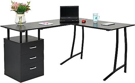 Panana en forma de L grande esquina escritorio de ordenador con 3 ...
