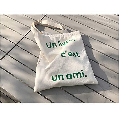 Capacité Sac Portable Grande Épaule Sauvage Portable Lettre Simple D'étudiant Impression Mode Femmes Toile Sac De De Ynnb 6qvTM
