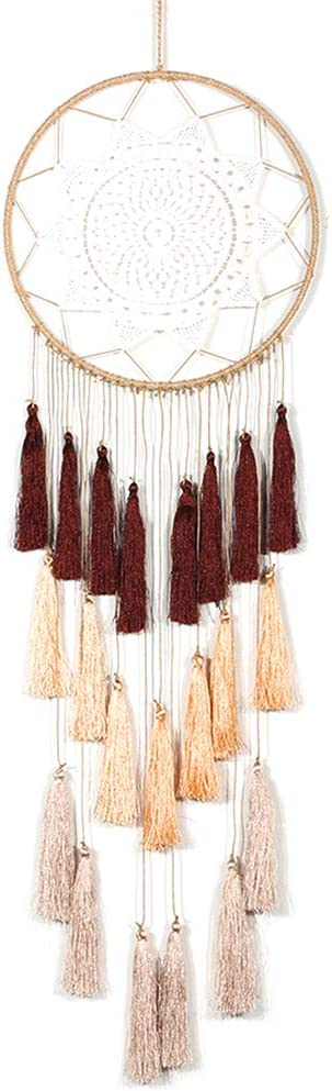 Artilady Macrame Dream Catchers for Bedroom - Tassel Wall Hanging Handmade Dreamcatchers Home Decor with Tassel Feather Ornament Craft Blessing Gift (Mix Brown)