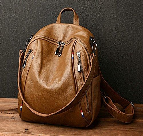 for Satchel Bag Leather Travel Women Shoulder PU Girls Backpack Backpack Handbag Bag Casual Brown Ladies School 8qFYOTx