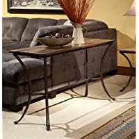 Emerald Home Innsbruck Medium Brown Sofa Table with Solid Wood Top And Curved Metal Base