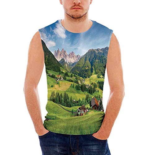 (Mens Sleeveless Nature T- Shirt,Alps in The Spring with Fresh Grass Sky and Maje)