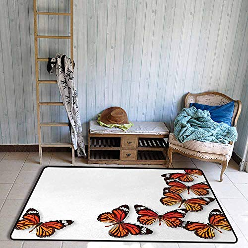 Children's Rugs Playrug Rugs Butterflies Monarch Butterfly Figures Flying Frame Insect Exotic Weather Anti-Fading W67 xL102 Dark Brown Marigold Orange - Monarch Futon Mattress