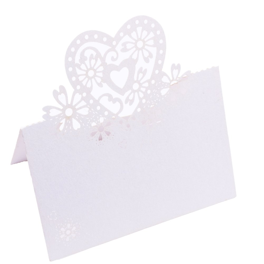 DriewWedding Pack of 100 Wedding Party Table Name Place Cards Favor Decor, Love Heart Flower Design Table Wine Glass Cup Guest Seating Escort Name Card Decoration (White)