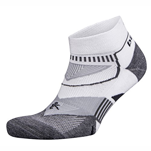 Balega Enduro V-Tech Low Cut Socks For Men and Women (1 Pair) (2017 Model), White/Grey Heather, Medium
