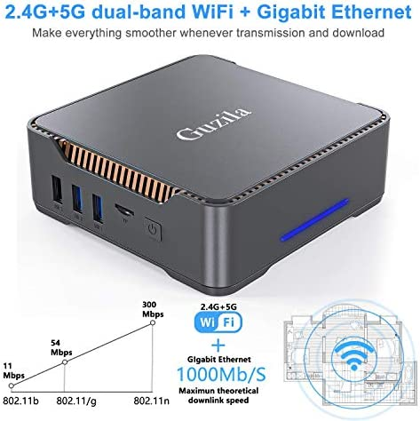 Mini PC, Intel Celeron J3455 Processor(up to 2.3GHz) Windows 10(64-bit) Mini Desktop Computer with HDMI/VGA Port,8GB DDR3/120GB SSD,Gigabit Ethernet,Dual Band Wi-Fi,Bluetooth 4.2,4K HD