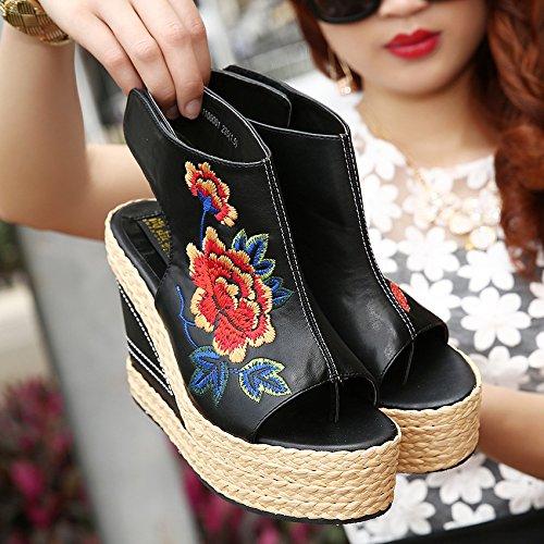 orteils nouvelles Danfeng Broderie Folk poisson four Chaussures Thirty the Chaussures Chaussures Sandales de Paille de Style bouche pente Khskx à la 54PUqwxxn