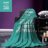 smallbeefly Motivational Throw Blanket Hipster Letters Saying Advice Believe in Your Dreams Have Faith in Yourself Warm Microfiber All Season Blanket for Bed or Couch Teal White