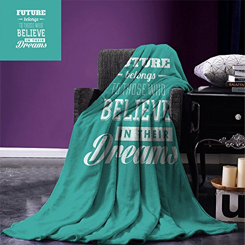 smallbeefly Motivational Throw Blanket Hipster Letters Saying Advice Believe in Your Dreams Have Faith in Yourself Warm Microfiber All Season Blanket for Bed or Couch Teal White by smallbeefly
