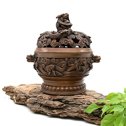 Yong He Xuan Hand-Made Red Copper Dragon Censer- Incense Burner- Contain Incense Holder Net Weight:1280g(Approx.) China Classical Style Traditional Technology (Cloud Wax Coil)