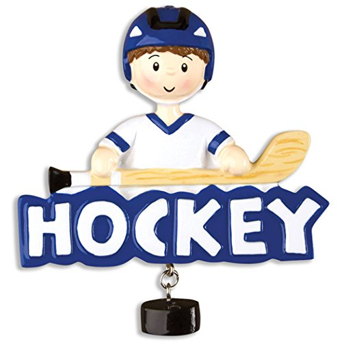 Blue Jersey Skating (Personalized Hockey Boy Christmas Ornament - Athlete Blue Jersey Helmet with Stick Skate - Ice Coach Hobby School Profession Winter Sport Man Team Player - Free Customization)