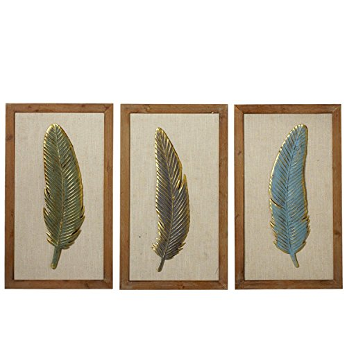 Diva At Home Set of 3 Brown and Green Framed Feather with Gold Accent Wall Decor 23