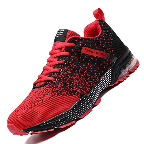 Zeoku Mens Running Shoes Fashion Breathable Air Cushion Sneakers Lightweight Tennis Sport Casual Walking Athletic for Men Outdoor Jogging Shoes(Red,9.5)