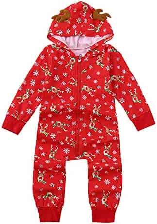 Kamendita Holiday Christmas Family Matching Pajamas PJs Sets Hood Romper  Jumpsuit Family Pajamas Sleepwear Christmas Outfit 9a3129a75