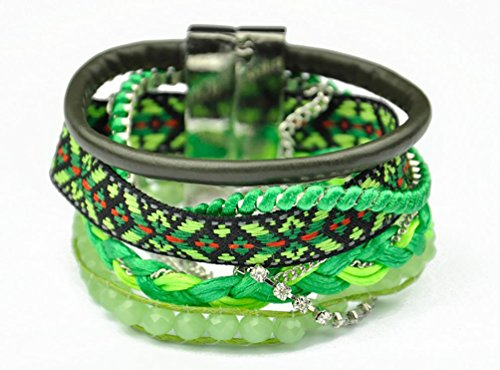 Superhai Bohemian Green Hand-Woven Bracelets