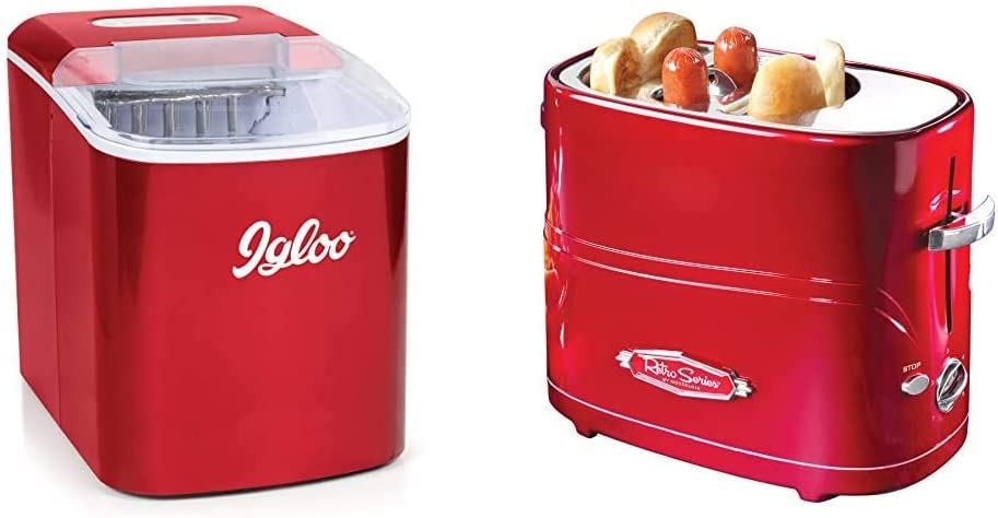 Igloo ICEB26RR Automatic Portable Electric Countertop Ice Maker Machine, 26 Pounds in 24 Hours & Nostalgia HDT600RETRORED Pop-Up 2 Hot Dog and Bun Toaster With Mini Tongs Works, Pack of 1, Retro Red