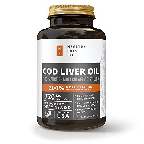 Cheap Premium Cod Liver Oil Softgels Reinforced with Vitamin A & D and Best for Omega 3 Fatty Acids, EPA and DHA by the Healthy Fats Co.