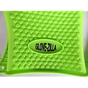 Great Valentine/Easter Gift!!! - GLOVE-ZILLA - One Pair/2 Super Premium - FDA Approved - Heat Resistant Barbeque Cooking and Grilling Gloves - Silicone Grill BBQ Oven Mitts, Trivet, Perfect Grip Pot Holder Non Slip - Guaranteed Best of Amazon