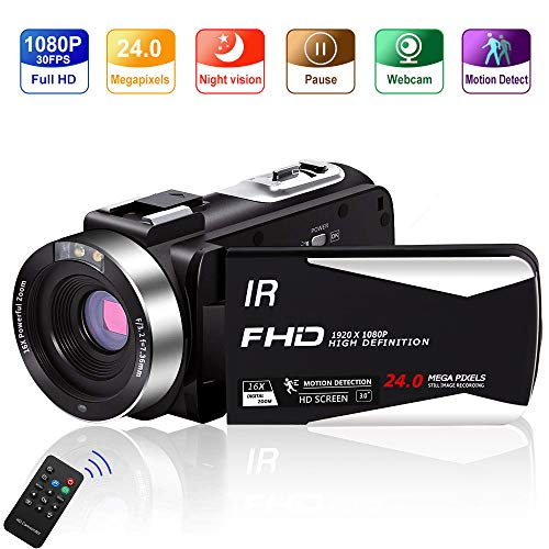 Video Camera Vlogging Camera Camcorder Full HD 1080P 30FPS IR Night Vision YouTube Camera 24.0 MP Supports Time Lapse & Motion Detection Vlog Camera with 3″ LCD Screen Remote Control