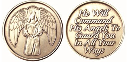 Bulk Lot of 25 Guardian Angel He Will Command His Angels To Guard You In All Your Ways Bronze AA Medallion Chip Set from wendells