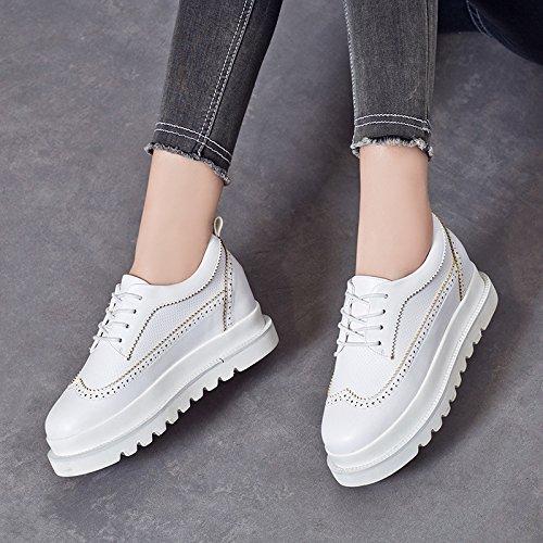 LvYuan Zapatos blancos de las mujeres / cuero de patente / oficina y carrera / talón plano / manera ocasional al aire libre de la comodidad / zapatos de la flatform / zapatillas de deporte Lace-up que White