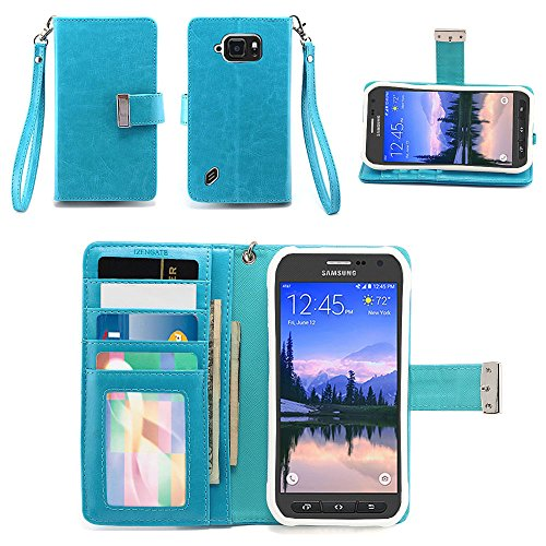 IZENGATE Samsung Galaxy S6 ACTIVE (SM-G890A) Wallet Case - Executive Premium PU Leather Flip Cover Folio with Stand (Turquoise Blue)