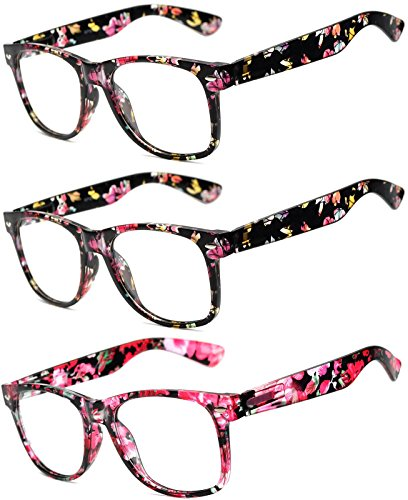 OWL - Non Prescription Glasses for Women and Men - Clear Lens - UV Protection (Floral_Black_3Pairs, ()
