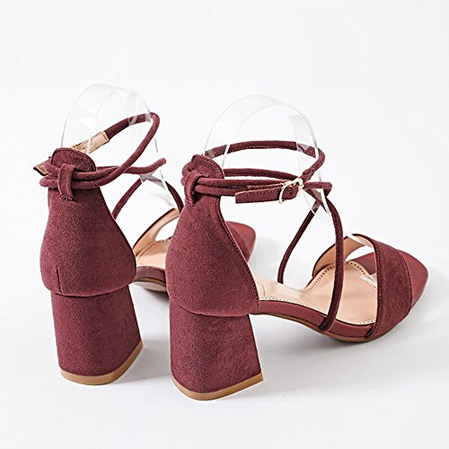 CYBLING Womens Low Block Heel With Ankle Strap Party Wedding Dress Open Toe Chunky Sandals Wine Red O0o3vQ