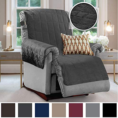 Gorilla Grip Original Velvet Slip Resistant Luxury Recliner Slipcover Protector, Seat Width Up to 26 Inch Patent Pending, 2 Inch Straps, Hook, Furniture Cover for Pets, Dog, Kids, Recliner, Chocolate