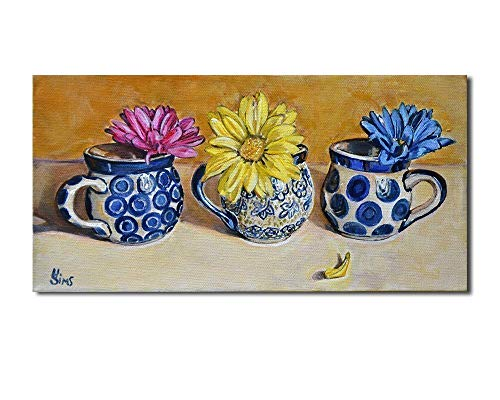 Boleslawiec Polish Pottery Mugs Daisy Still Life Art Print Kitchen Wall Home Decor, size mat option