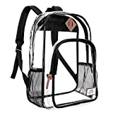 NiceEbag Clear Backpack|Large See Through Backpack for Teen Girls Boys Kids Student Women and Men(Black)