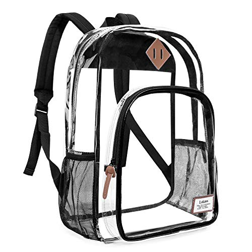 - NiceEbag Clear Backpack Heavy Duty Clear Bookbag Large See Through Backpack for Women and Men Stadium Approved Transparent Bag for College Work Travel,Black