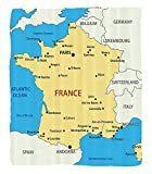 Chaoran 1 Fleece Blanket on Amazon Super Silky Soft All Season Super Plush Werlust Decor Collection Map of France Country French Territory Channel Mediterranean Illustration Image Fabric et Cream