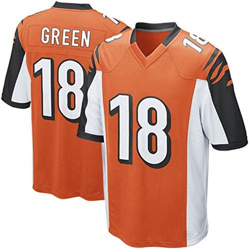 [Mens Football Jersey AJ GREEN #18 Orange Adult Short-sleeve Training Practice Football Jersey] (Male Football Player Costume)