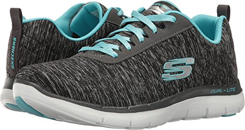 Skechers Women's Flex Appeal 2.0 Fashion Sneaker, black light blue, 8.5 M US
