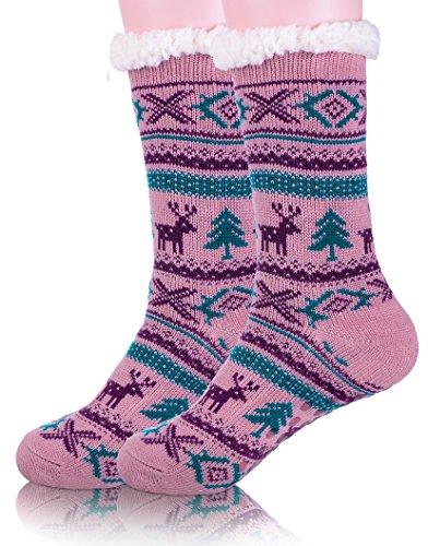 EBMORE Womens Christmas Fuzzy Warm Winter Deer Fleece Slipper Crew Socks Purple EDU5bl