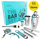 Home Bar Tools Set - 11 Piece cocktail set with strainer, jigger, 2 shakers, bar spoon, pourer, muddler, fruit peeler, bottle opener, cork screwer and ice tongs -Stainless-Steel
