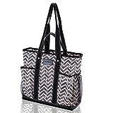 DEMOMENT Canvas Tote Bag Multi Pockets Large Shoulder Bag for Women,Teacher,Nurse,Soccer Mom,Water Resistance Wipe Clean(Rhombus)
