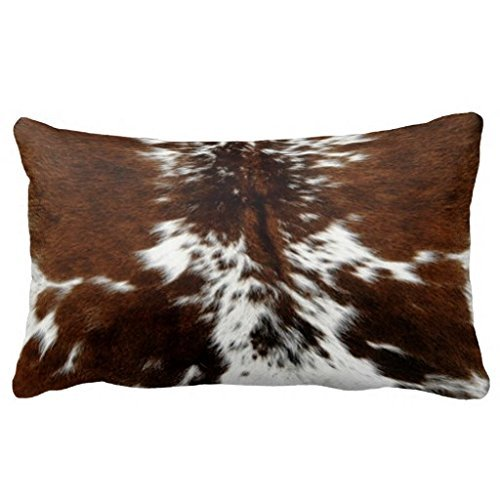 Brown and White Cowhide Art Print Throw Pillow Cover Canvas 24 x 16