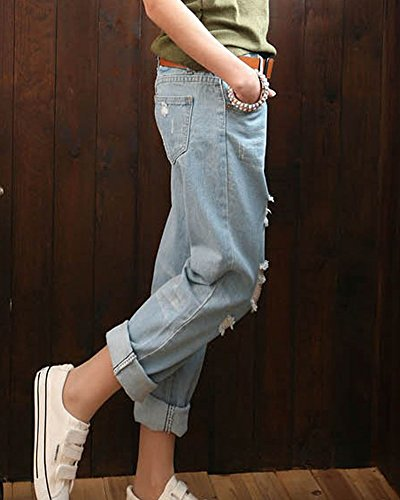 Boyfriend Denim Jeans Fit Strappato Azzurro Pantaloni Donna Pants Loose Distressed UYPq1axt