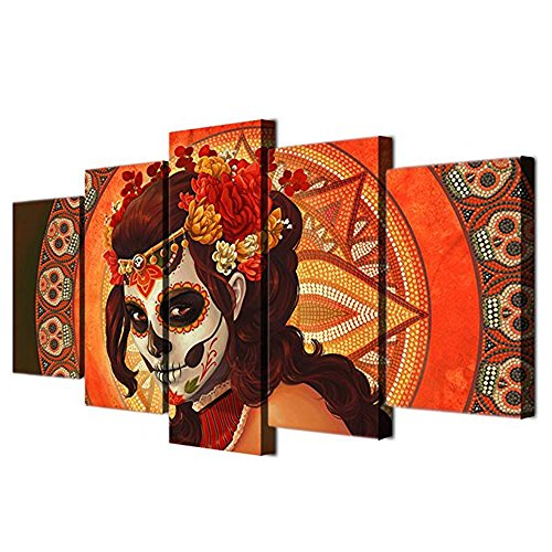 (Day of the Dead Decor Wall Pictures for Living Room Sugar Skull Girl 5 Panel Canvas Art Paintings All Saints' Day Celebration with Catholic Church Home Decor Artwork Framed Ready)