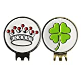 PINMEI Beautiful Clover Crown Golf Ball Markers with Magnetic Hat Clips