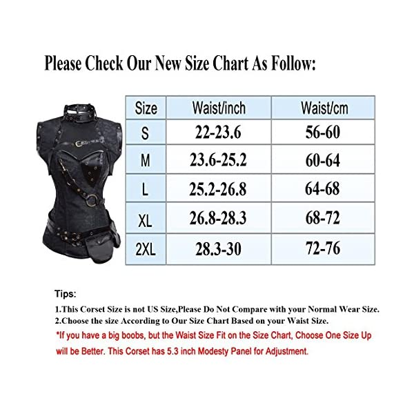 Kiwi-Rata Women's Steel Boned Vintage Corset Steampunk Gothic Bustier Waist Cincher Vest 4