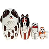 Cute Animal Dalmatians Dog And Friends Nesting Doll Wooden Matryoshka Russian Doll Handmade Stacking Toy Set 5 Pieces For Kids Girl Gifts Home Decoration
