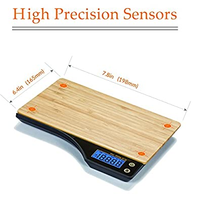 Beautiful Bamboo Digital Kitchen Food Scale with Tare Feature By Wasserstein