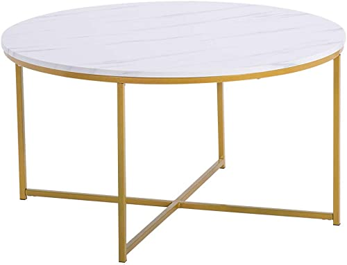 SSLine Coffee Table,Marble Modern Round Living Room Coffee Table